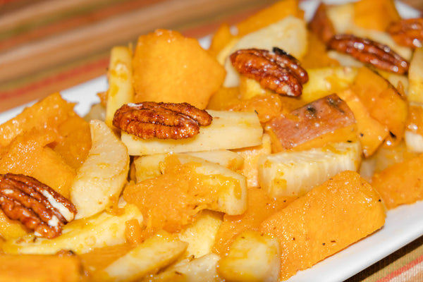 Close up of Maple Ginger Glazed Root Vegetables dish