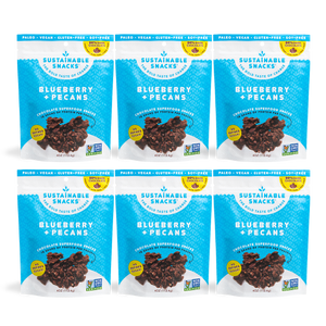 Six Sustainable Snacks Blueberry and Pecans chocolate superfood snack 4oz bags