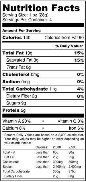 Blueberry + Pecans nutrition facts label