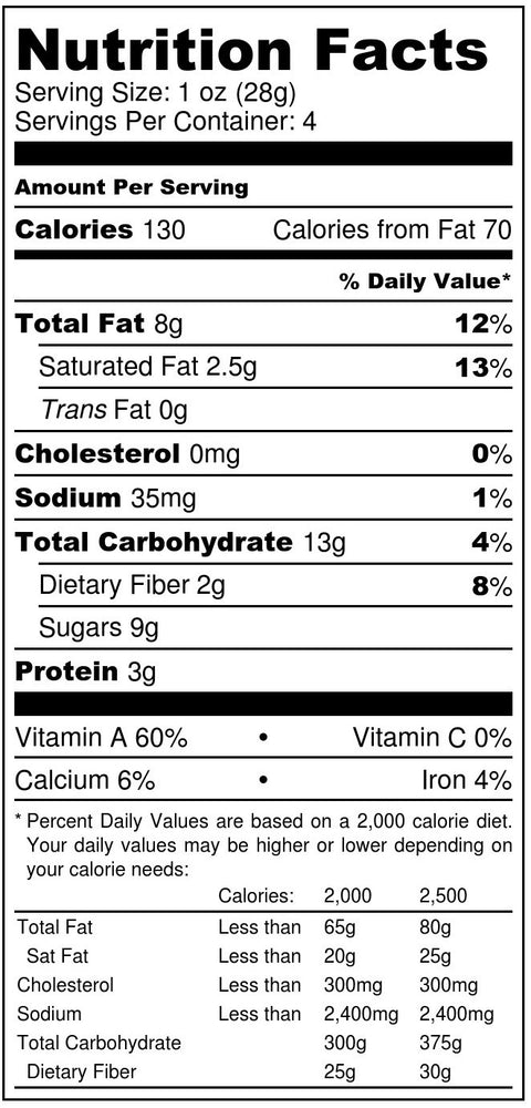 spicy cherry + almonds nutrition facts label