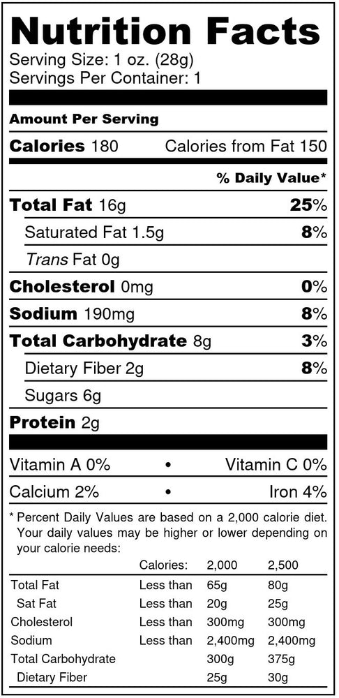 smokey maple pecans nutrition facts label