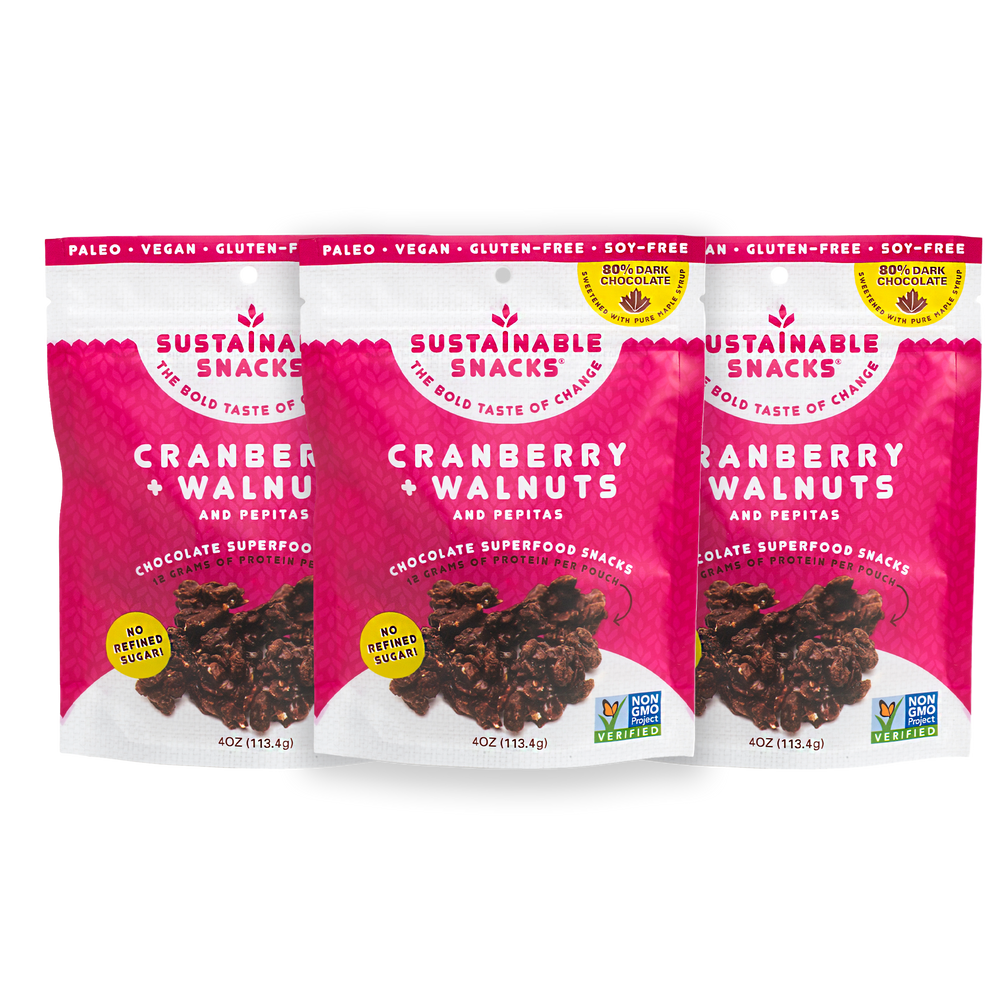 Three Sustainable Snacks Cranberry and Walnuts chocolate superfood snack 4oz bags