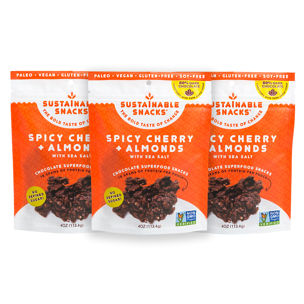 Three Sustainable Snacks Spicy Cherry and Almonds chocolate superfood snack 4oz bags
