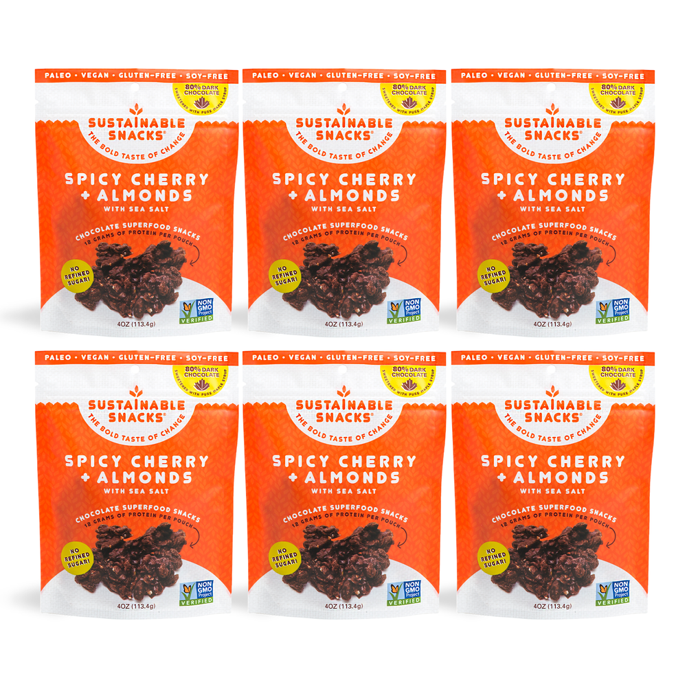 Six Sustainable Snacks Spicy Cherry and Almonds chocolate superfood snack 4oz bags