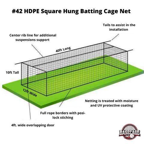 Basecage® 40'L x 12'W x 10'H #42 HDPE Square Hung Batting Cage Net (No Frame)