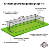 Basecage® 30'L x 12'W x 10'H #24 HDPE Square Hung Batting Cage Net (No Frame)