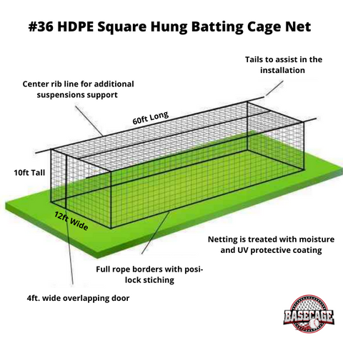 Basecage® 60'L x 12'W x 10'H #36 HDPE Square Hung Batting Cage Net (No Frame)
