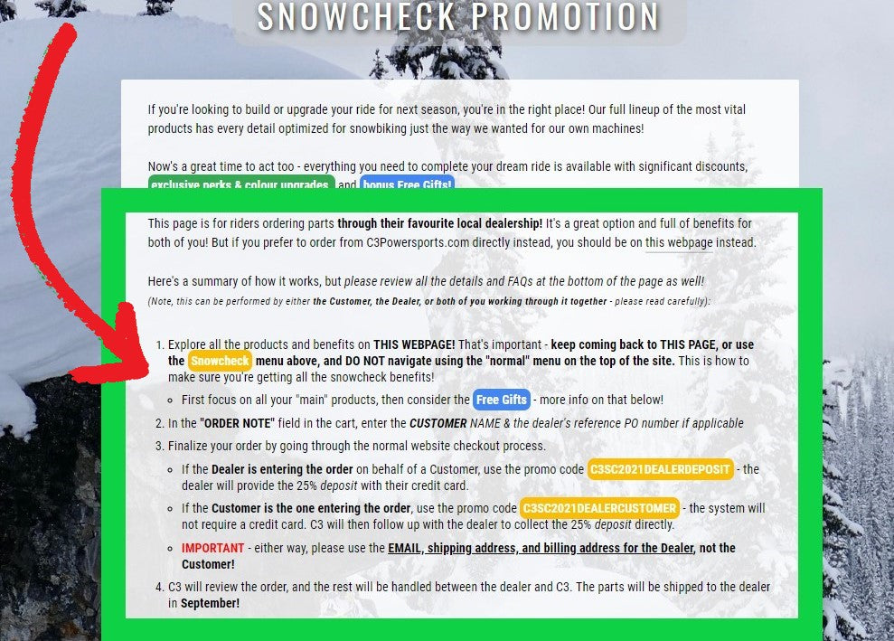C3 powersports snowbike website instructions