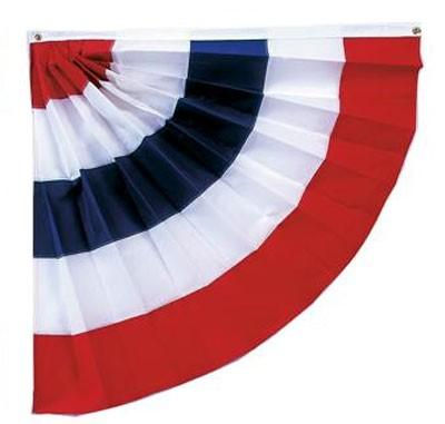 Pleated Half Fan With Stripes