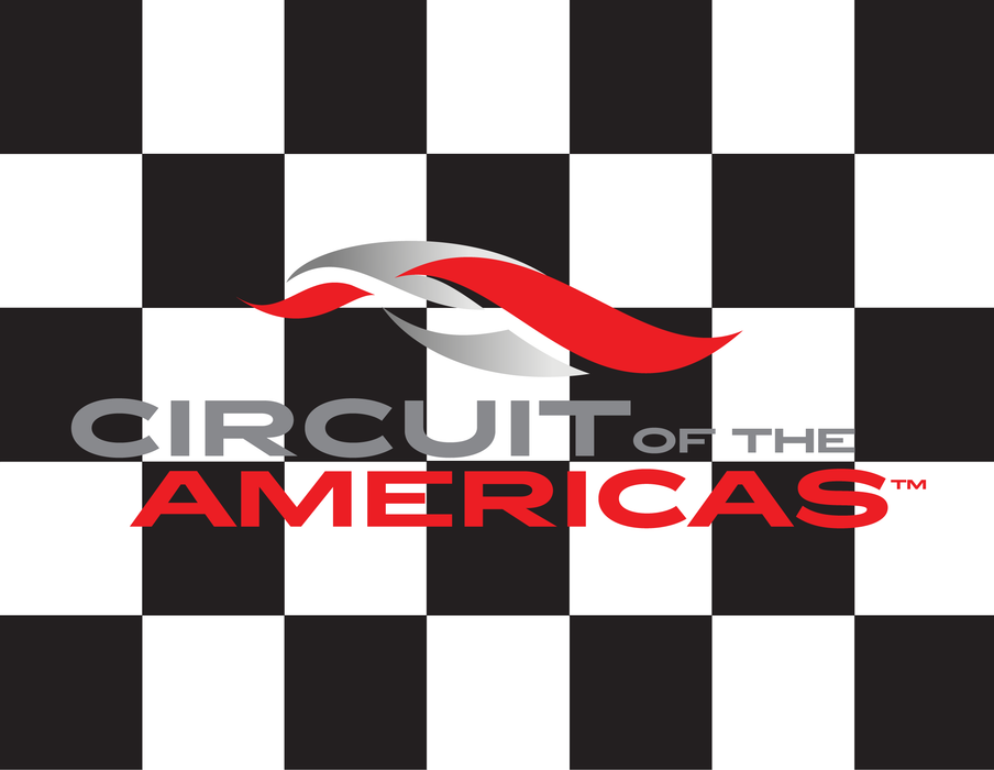 "COTA Circuit of the Americas Printed Checkered Flag - 24""x30"" - Single Reverse - Mounted on 32""x5/8"" Dowel"