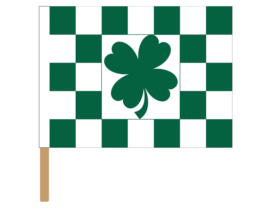irish checkered flag for sale - clover checkered racing flag for sale - racing flags for sale - black and white