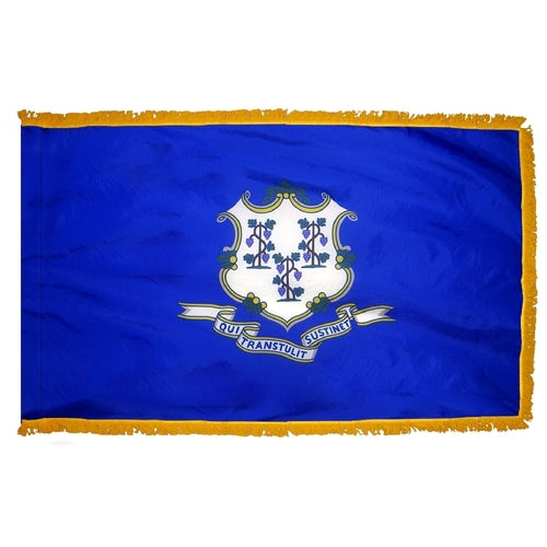 Connecticut flag with gold fringe. Connecticut Flag for sale. Connecticut parade flag. Connecticut flag with fringe. Connecticut indoor flag. Connecticut presentation flag.