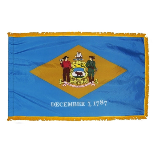 Delaware flag with fringe. Delaware flag with gold fringe. Delaware indoor flag. Delaware presentation flag. Delaware parade flag.