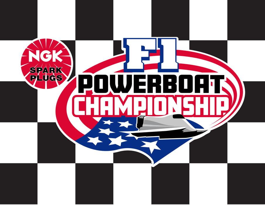 "F1 Powerboat Championship Printed Checkered Flag - 24""x30"" - Nylon - Single Reverse - Stapled to 32""x5/8"" Dowel"