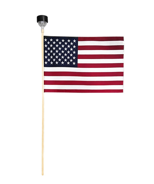 Cemetery Flag with Solar Light Flagman of America Wholesale Cemetery Veteran Grave Flags