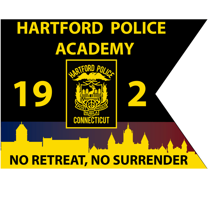 "Hartford Police Academy Guidon - 20""x27"" - Nylon - Double Sided w/ Interliner - Pole Hem"