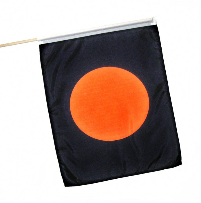 printed black flag with orange circle racing flag flagman of america