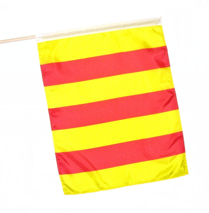 yellow and red vertical stripe racing flag flagman of america