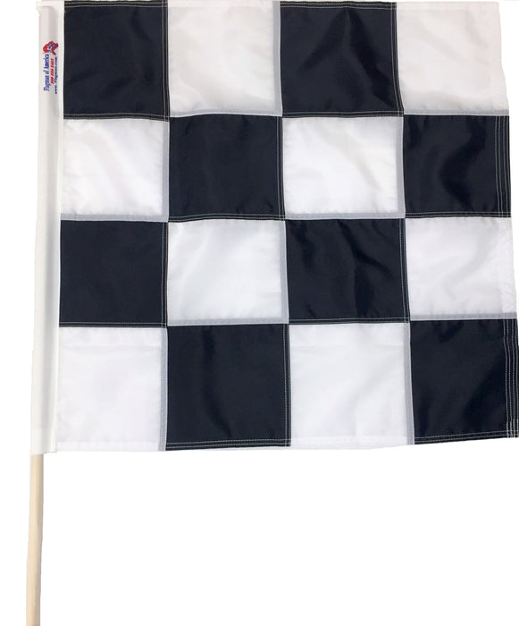 Sewn Flatlock Seam Black & White Checkered Racing Flag