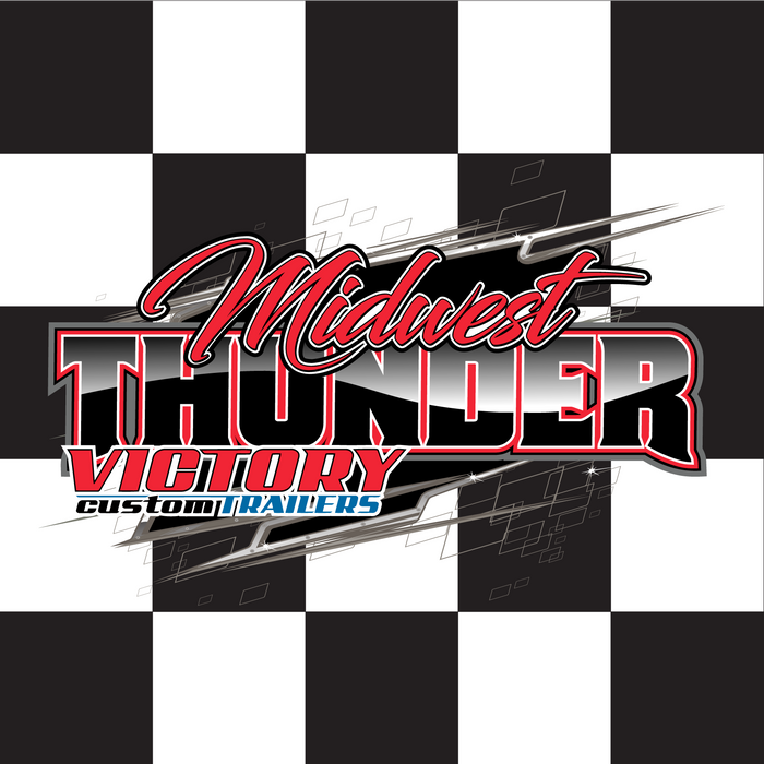 "Midwest Thunder Printed Checkered Flag - 24""x24"" - Nylon - Velcro to 28""x5/8"" Dowel"
