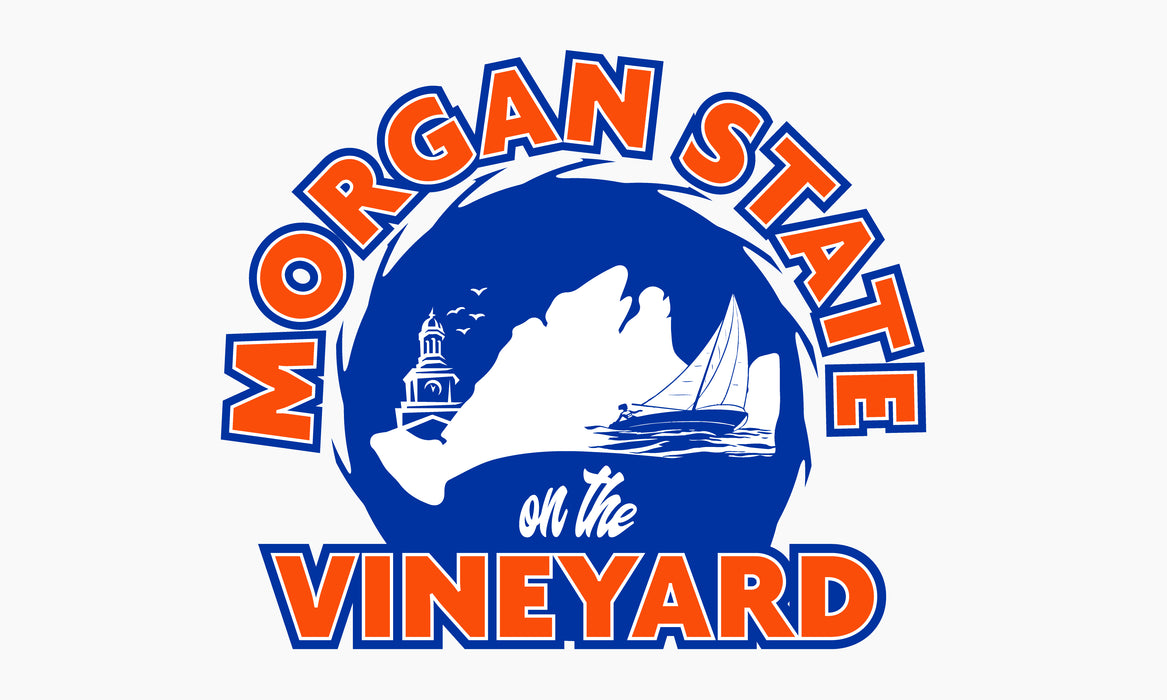 Morgan State Vineyard Printed Flag - 3'x5' - Nylon - Single Reverse - Outdoor Heading & Grommets - White Background, Orange 1655, Blue 286