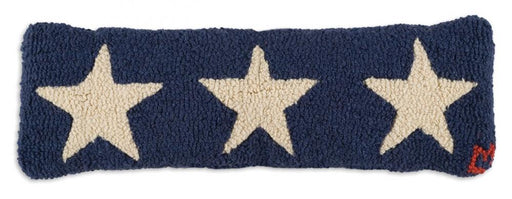 "Blue Stars Trilogy 8""x24"" Lumbar Hooked Wool Pillow"
