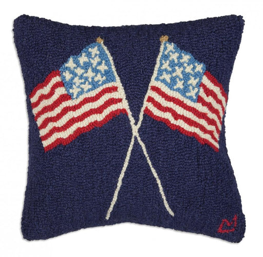 "Crossed Flags on Blue 18"" Hooked Wool Pillow"