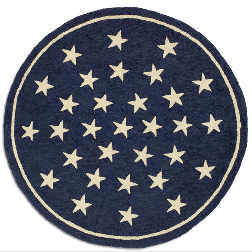 Blue Stars 5' Round Hooked Wool Rug