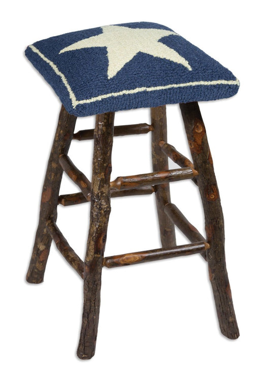 Patriotic Stool handcrafted by Amish Furniture Makers with New Zealand Wool Designed in Vermont Flagman of America