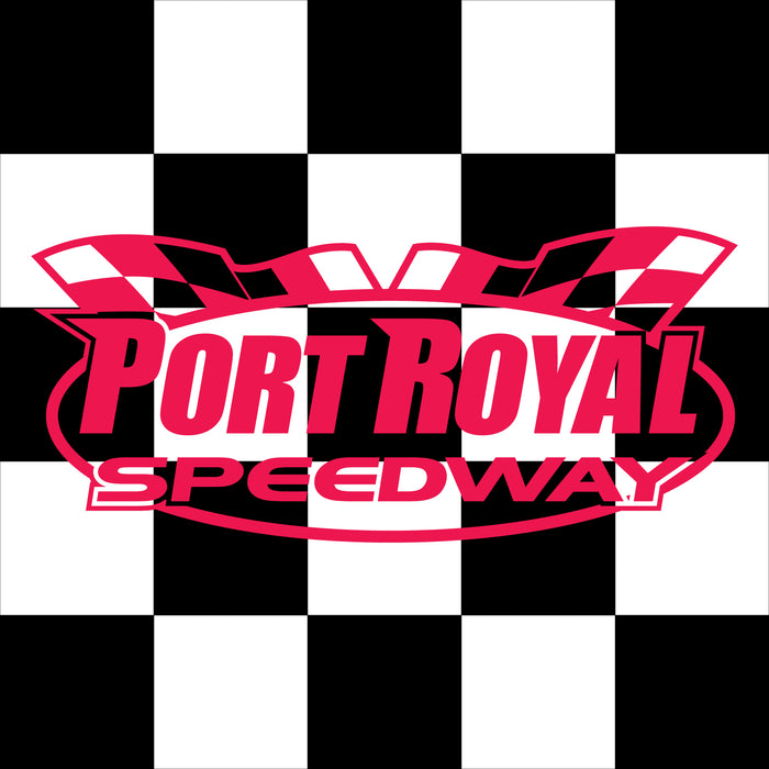 "Port Royal Speedway Printed Checkered Flag - 24""x24 - Nylon - Single Reverse - Stapled to 32""x5/8"" Dowel"