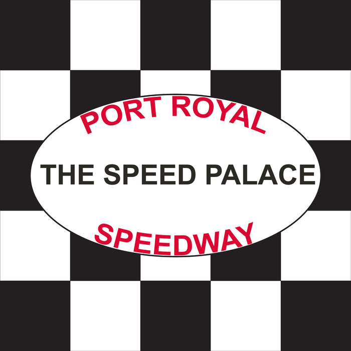 "Port Royal Speedway Speed Palace Printed Checkered Flag - 24""x24"" - Nylon - Single Reverse - Stapled to 32""x5/8"" Dowel"