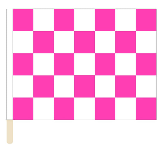 Sewn Pink & White Checkered Racing Flag