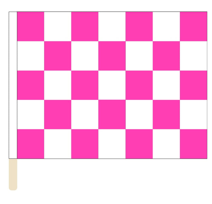 Printed Pink & White Checkered Racing Flag