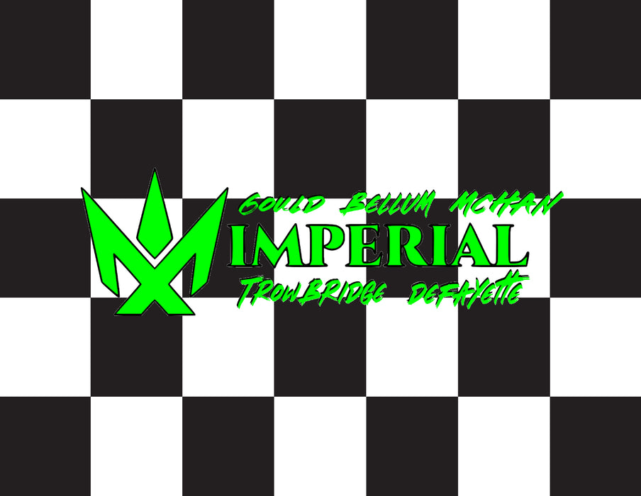 "Scott Bellum Imperial Custom Printed Checkered Flag - 24""X30"" - Nylon - Single Reverse - Stapled to 32""x5/8"" Dowel"