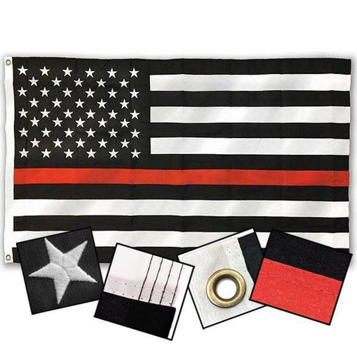 Sewn Thin Red Line American Outdoor Flag