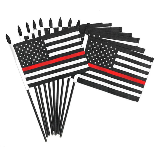 "4""x6"" Mounted Thin Red Line Flags 
