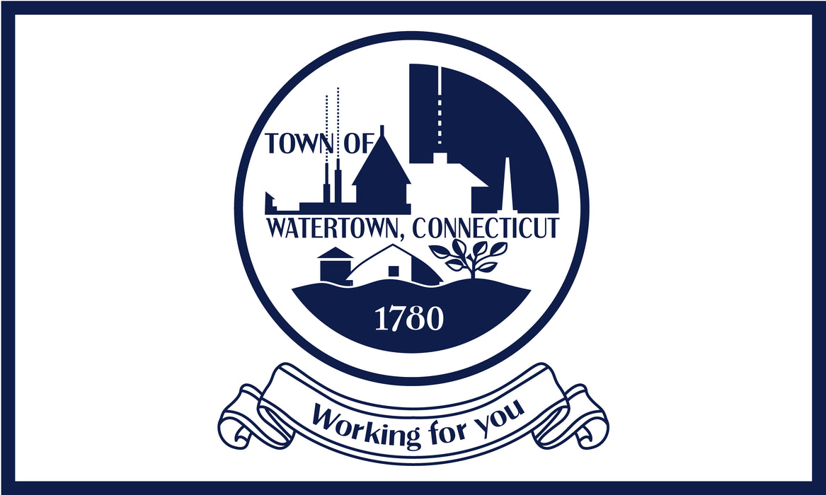 Town of Watertown Connecticut Flag - 3'x5' - Nylon - Single Reverse - Heading & Grommets