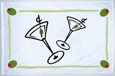 Cocktail with Olive Border, Novelty Flag for sale