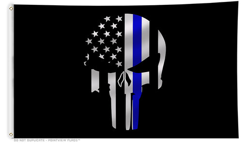 Thin Blue Line Skull Flag