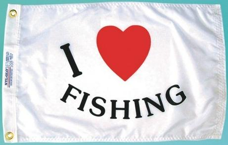 I Love Fishing Flag 12x18""""