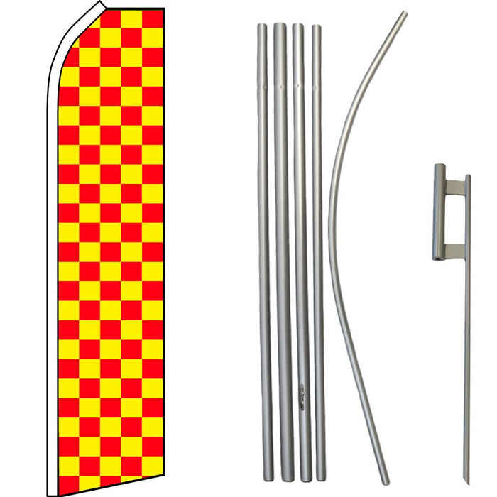 Red & Yellow Checkered Feather Flag Kit