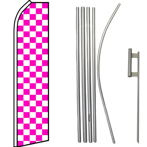Pink & White Checkered Feather Flag Kit