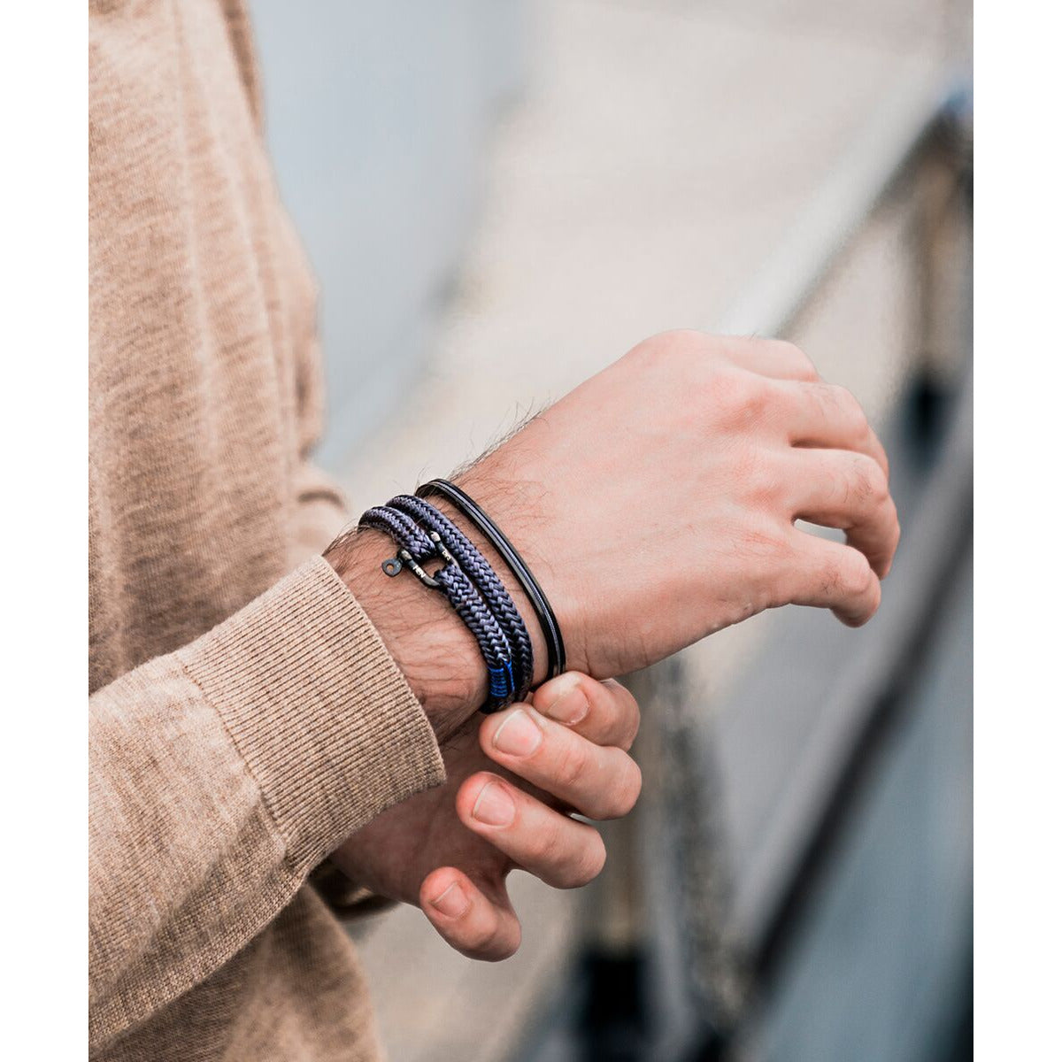 NAVARCH 6 2MM ROUND ROPE BRACELET NAVY SILVER