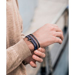 Bracelet P&H - NAVARCH 8MM 4mm ROUND ROPE - NAVY SILVER