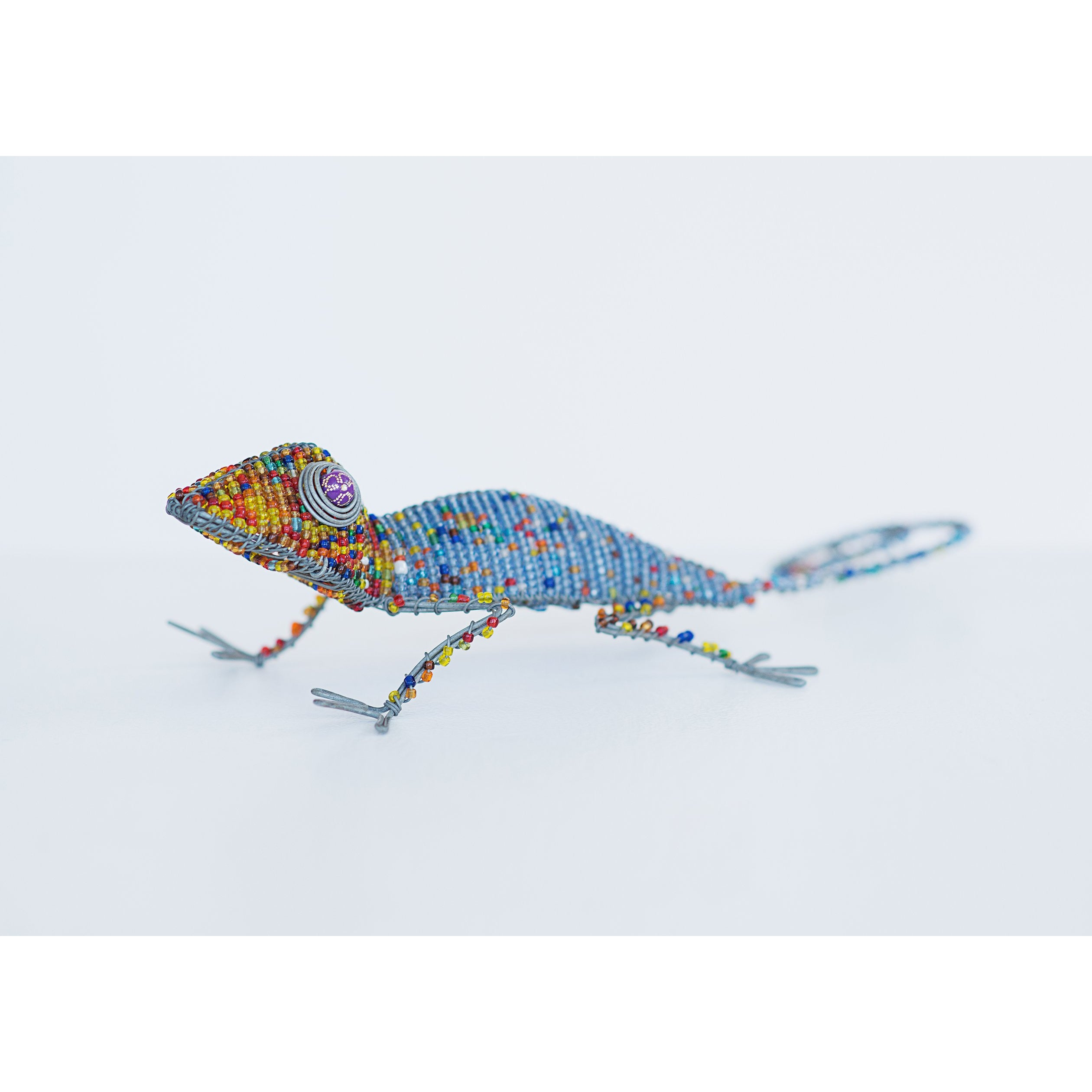 Lezard en beads multi-couleur