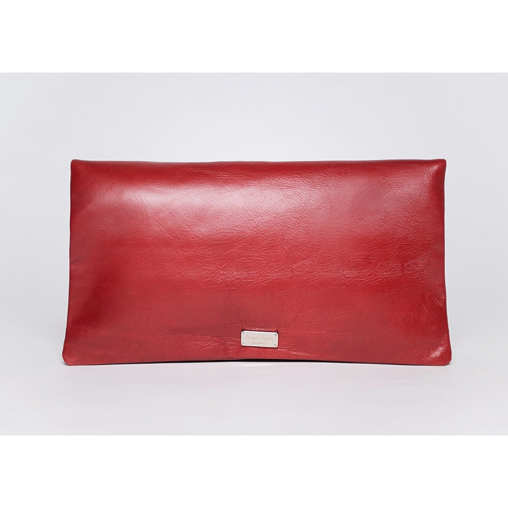 Trinity handbag / clutch / shoulder strap / full grain leather / blood red