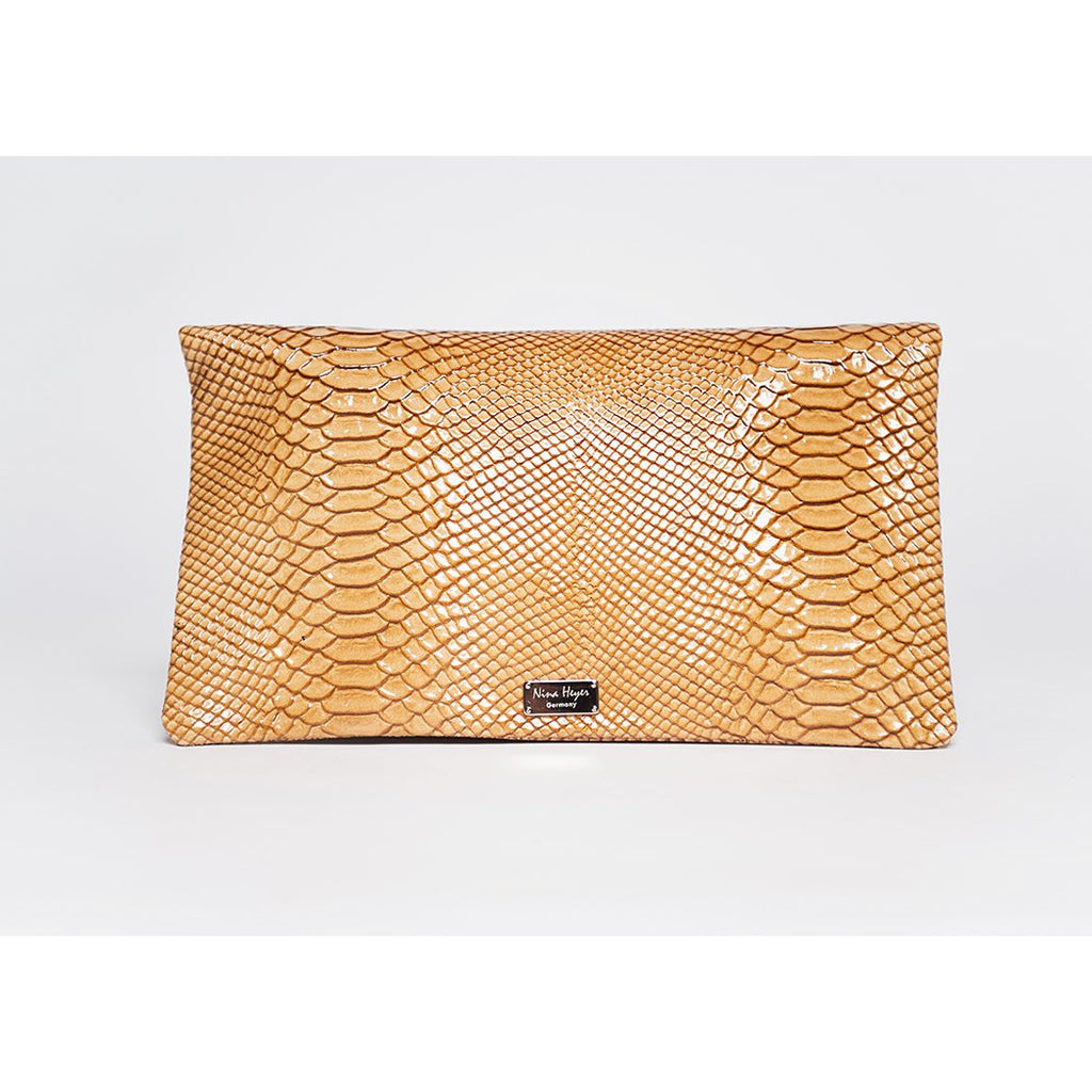 Trinity handbag / clutch / shoulder strap / golden beige full grain leather embossed snake