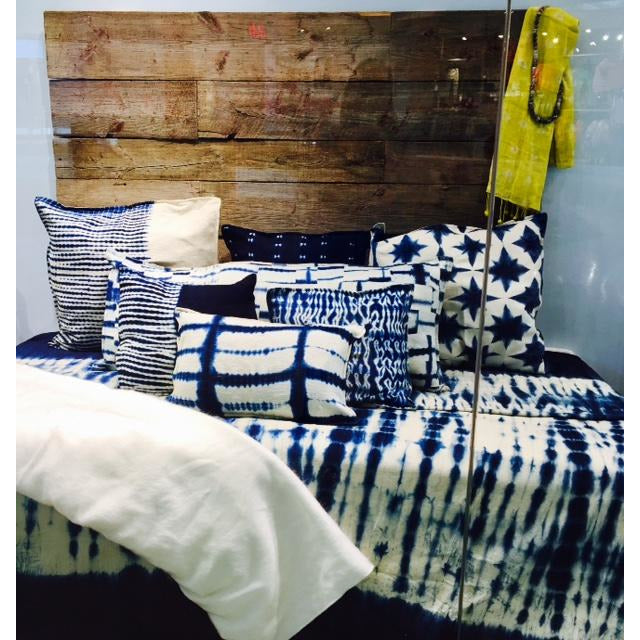 Indigo organic cotton hand woven cushion cover