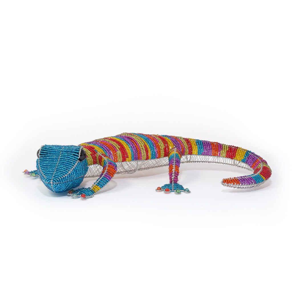Grand lézard en beads multi-couleur