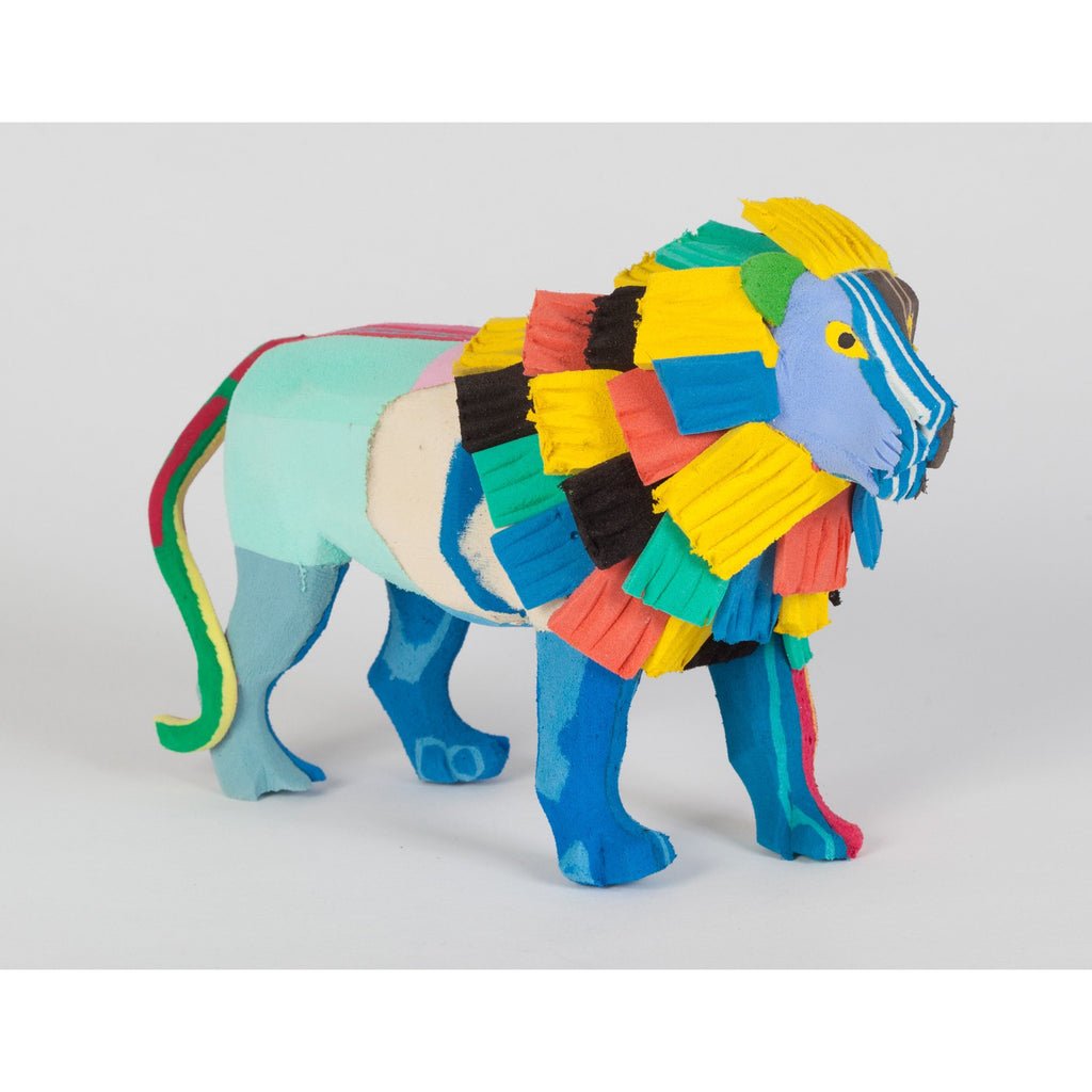 Animal lion made from recycled flip-flop project from Kenya